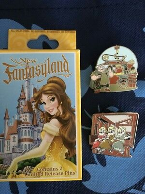 Disney Pins Two Mystery Pin Box Fantasyland Beauty And The Beast Set opened