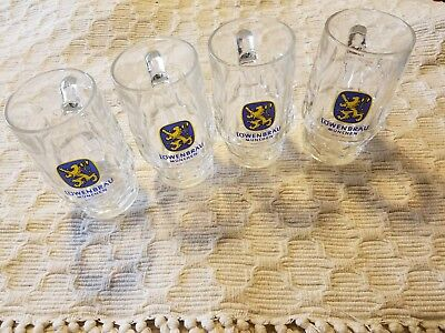 Lowenbrau Beer Glass / Stein / Mug Dimpled Design Set of 4