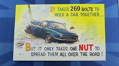 Bamforth Motoring Comic Postcard 1960s LOTUS ELAN Theme