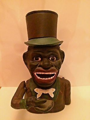 Cast Iron Mechanical Bank Black America Jolly Top Hat Vintage Reproduction