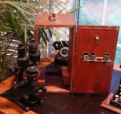 Antique Spencer Buffalo Microscope With Original Case and 4 Objectives