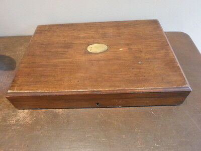 Vintage wooden rectangular cutlery box with brass plate,  jewellery stationery