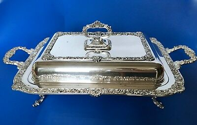 """VTG BIRMINGHAM Silver on Copper LARGE - 3 Piece Divided Chafing Dish w/ Lid 17"""""""
