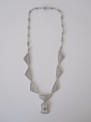 """Jewish Star Of David Marcasite Vintage Pendant Sterling 16"""" Chain Necklace"""