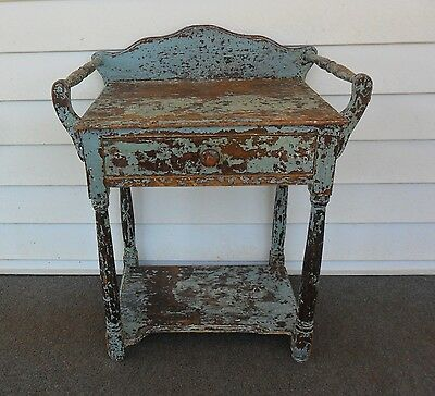 Vintage Antique ( One Drawer Washstand Table with Back Splash&Towel Bars)