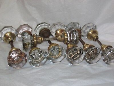 14 Vintage 8 Point Antique Victorian Clear Glass Door Knobs Mercury Star Centers