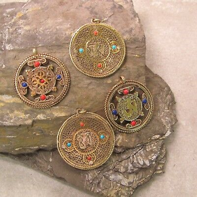 Lot of 4 Large Tibetan Nepal  Buddhist Handmade OM Pendants Brass Mixed Metal