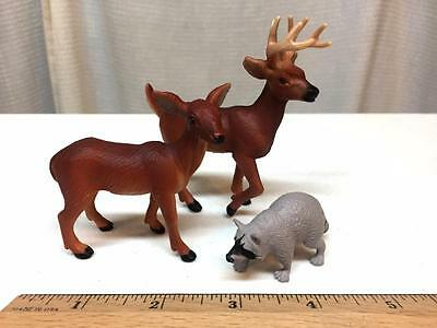 SAFARI LTD Lot 3 Forest Animals DEER Doe Buck MALE Female Racoon Zoo - NICE SET!