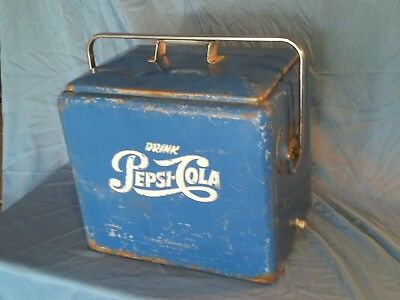 Vintage 1950's Pepsi Cola Ice Chest Picnic Cooler Progress Refrigerator Co.