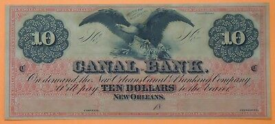 1800's $10 Canal Bank - New Orleans - Louisiana Spread Eagle - Remainder