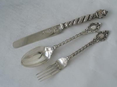Quality Sterling Silver 3-Piece Childs Cutlery Set 1873 FH