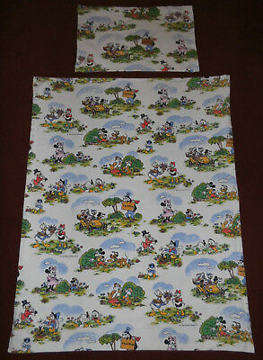 Disney Bettwäsche 70er Mickey Minnie Mouse Maus Stoff bedding fabric 70s vtg rar