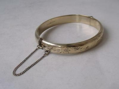 Pretty Engraved Solid Sterling Silver Gilt Stiff Hinged Bangle 1975/ H 0.8 cm