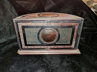 Art Deco Bakelite Roto -Tray Cigarette Humidor U.S.A.Smoking Set
