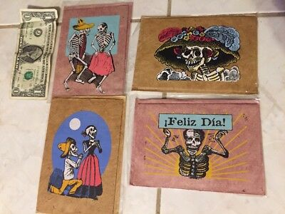 Jose Guadalupe Posada 4 hand print  Lukta paper DAY OF THE DEAD cards