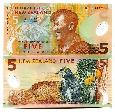 New Zealand 5 Dollars 2014 P-185-New Unc Polymer