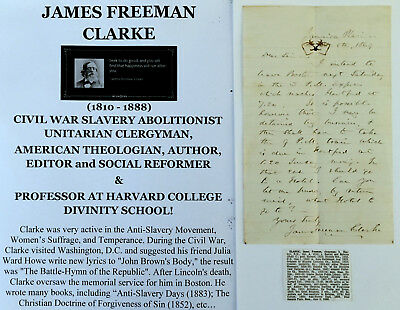 Civil War Slavery Abolitionist Alcohol Clergyman Women's Suffrage Letter Signed!