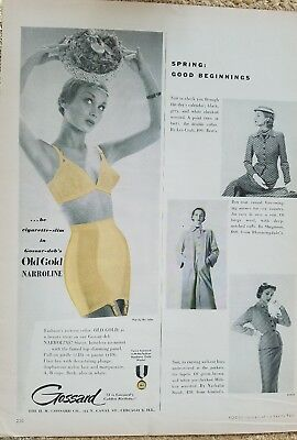1951 Gossard old gold narrow line cigarette slim women's girdle bra garters ad