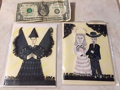 Day of the dead hand printed cards Jose Franciso Borges Brazilian poet wood cut
