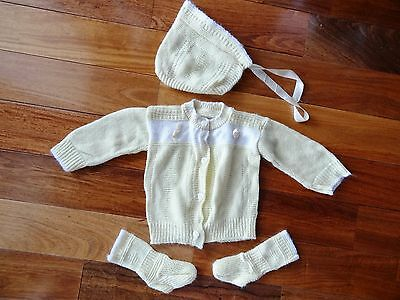 VINTAGE 1960s Baby Infant Size KNIT Yellow SWEATER SET Bootie Socks & Hat