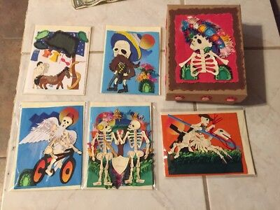 Day of the dead hand cut in Peru wood cut 5 cards  and unique card box.  Artist