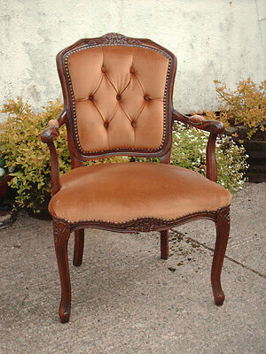Antique Style Open Armchair With Floral Carving