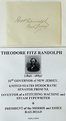 22nd GOVERNOR SENATOR NEW JERSEY INVENTOR STEAM TYPEWRITER AUTOGRAPH SIGNATURE !