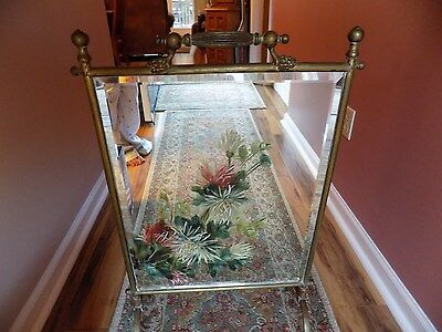 Antique Victorian Beveled Mirror & Brass Fireplace Screen Late 1800's