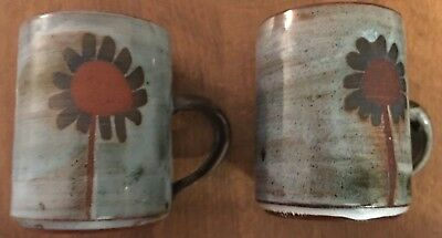 2 X Briglin Sunflower Coffee Espresso Cups Retro Vintage