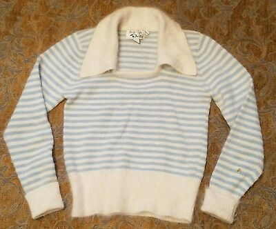 70s blue stripe angora sweater 7-8 vtg wool+rabbit hair wide collar girls jumper