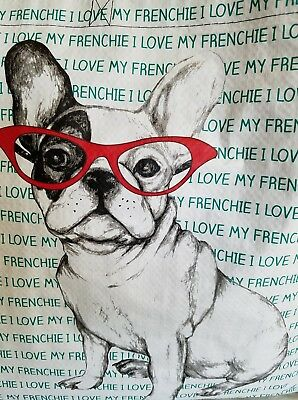French Bulldog With Glasses Frenchie Dog Tote Shopping Bag Large Reusable NEW