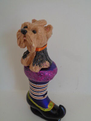 Hand Sculpted***little Yorkie Yorshiire Terrier In A Witches Halloween Shoe*****