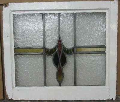 "MID SIZED OLD ENGLISH LEADED STAINED GLASS WINDOW Abstract Geo. 23.75"" x 21.25"""