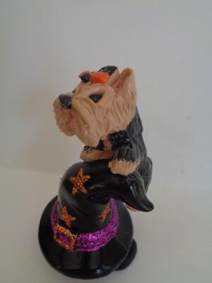 Hand Sculpted**little Yorkie Yorshiire Terrier On A Witches Hat*****art Figurine