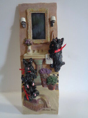 """Ooak**3 Black Scottish Terriers """"playing In The Bathroom Sink """" Wall Art Plaque"""