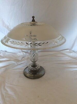 Antique frosted / Clear glass  art deco light fixture ceiling chandelier 1940s