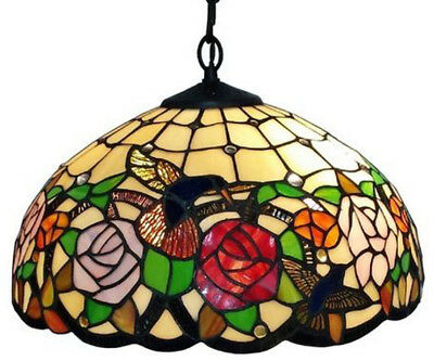 Tiffany Style Hanging Lamp Floral Stained Glass Hummingbird Antique Victorian