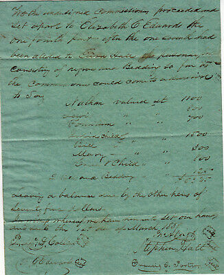 Early American Document 1838 Worth Of Slaves Settle Estate Indian Child Slave