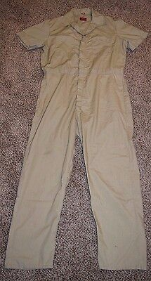 Dickies Short Sleeve Coveralls Jumpsuit Work Wear Khaki 42/44 Long Zip Front