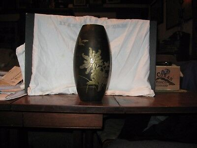 Japanese bronze over brass vase