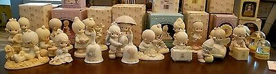 Lot of 35 Precious Moments Figures Figurines with Boxes + Book, 1978-2004