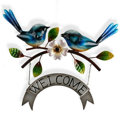 Two Blue Wrens Welcome Metal Wall Sign 52cm   Birds Metal Hanging Sculpture