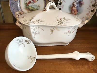 Antique Johnson Brothers Porcelain Tureen With Original Ladle