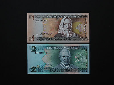 LITHUANIA BANKNOTES 1990's  BRILLIANT Set Of Two - One & Two Litu notes Mint UNC