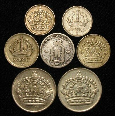 7 Silver Coins from Sweden.   1898-1955.  No Reserve!!