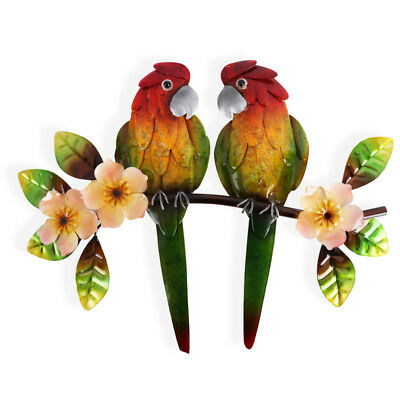 Two Tropical Parrot Metal Wall Art 40 cm | Hanging Sculpture
