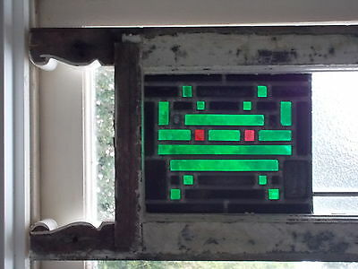 Stained glass leadlight in rustic shabby window frame SPACE INVADERS