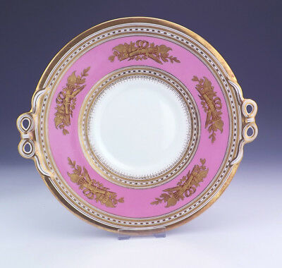 Antique English Porcelain - Pink Bordered Gilded Torch Decorated Cake Plate