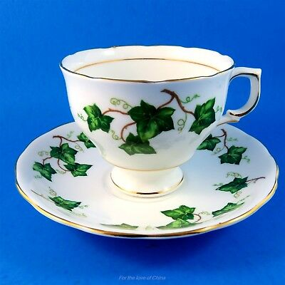 Pretty Green Ivy Leaves Colclough Tea Cup and Saucer Set
