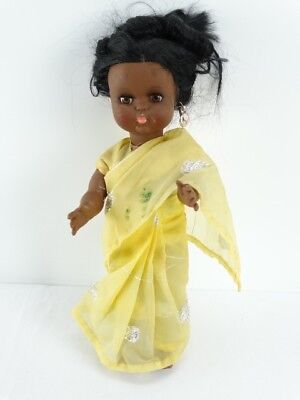 Vintage made in England Plastic Dark Indian Baby Doll in Sari - Doll Sale